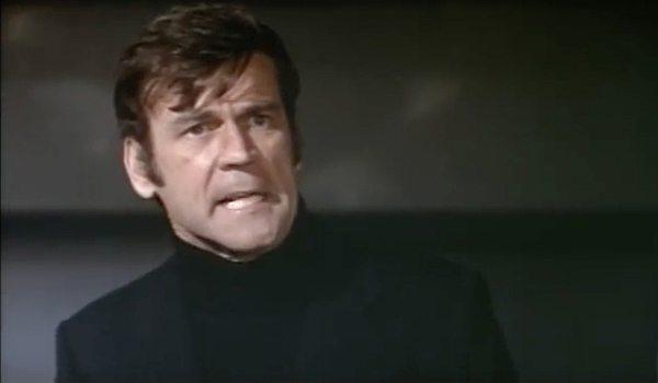 Governor Brcek (Don Murray)  is horrified at the thought of ape revolution in CONQUEST OF THE PLANET OF THE APES
