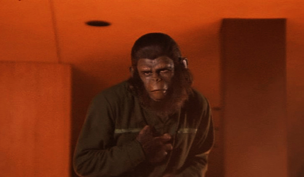Caesar (Roddy McDowall) leads the ape revolution of humanity in the controversial ending of CONQUEST OF THE PLANET OF THE APES.