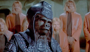 The war-mongering gorilla General Ursus (James Gregory) presses his anti-human campaign in BENEATH THE PLANET OF THE APES.
