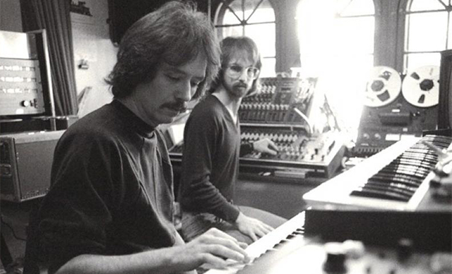 Director John Carpenter (left) and composer Alan Howarth seen as flim score collaborators in 1981.