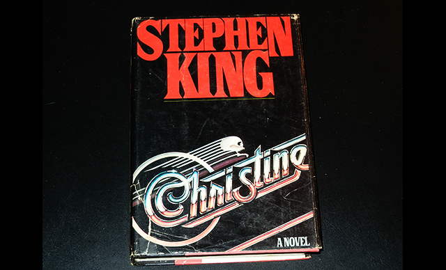 The hardcover book art for Stephen King's novel CHRISTINE, published in 1983.