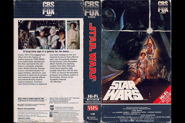 VHS box cover art for STAR WARS