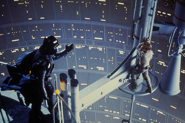 Darth Vader and Luke Skywalker (Mark Hamill) on the gantry in the reactor shaft in the Cloud City at Bespin. © Lucasfilm Ltd. & TM. All Rights Reserved.