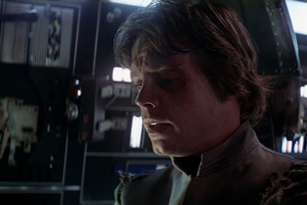 A pivotal moment in the STAR WARS Saga as Luke resigns himself to the truth that Darth Vader is his father, as revealed in THE EMPIRE STRIKES BACK. Photo: Film Frame..© Lucasfilm