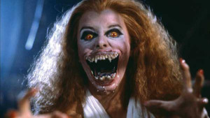 Amanda Bearse undergoes a change to the dark side in FRIGHT NIGHT.