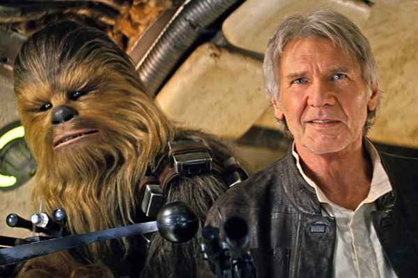 Chewbacca and Han Solo return home in STAR WARS: THE FORCE AWAKENS opening in theaters December 18, 2015. Photo: Film Frame..© Lucasfilm