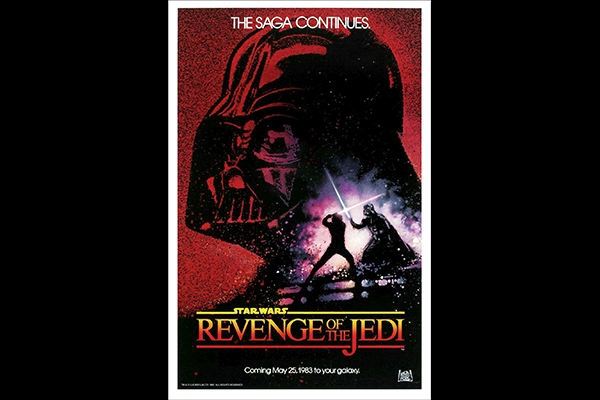 The famous and highly collectible 1982 REVENGE OF THE JEDI teaser poster, many of which were sold to Star Wars Fan Club members after the film's title was changed to RETURN OF THE JEDI. Artwork by Drew Struzan. © Lucasfilm Ltd. & TM. All Rights Reserved.