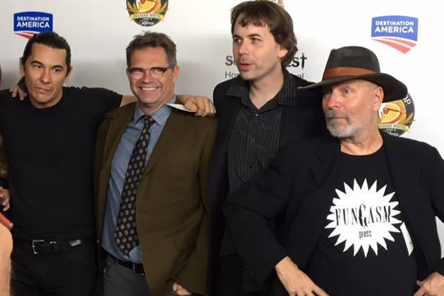 (L to R): actors James Duval and Dana Gould stand with co-directors Andrew Kasch and John Skipp at the premiere of the horror anthology film TALES OF HALLOWEEN,