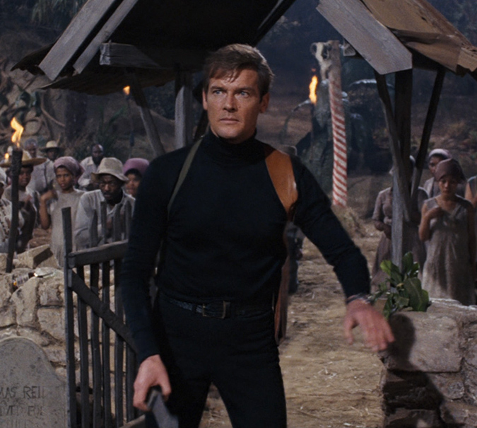 Roger Moore as James Bond in LIVE AND LET DIE.
