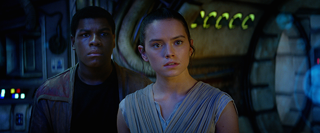 Star Wars: The Force Awakens..L to R: Finn (John Boyega) and Rey (Daisy Ridley).Ph: Film Frame. © 2015  Lucasfilm Ltd. & TM. All Right Reserved.