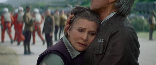 Star Wars: The Force Awakens..L to R: Leia and Han Solo (Harrison Ford). Ph: Film Frame. © 2015  Lucasfilm Ltd. & TM. All Right Reserved.