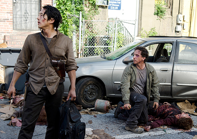 Glenn Rhee (Steven Yeun) and Nicholas (Michael Traynor) in Episode 3. Photo by Gene Page/AMC