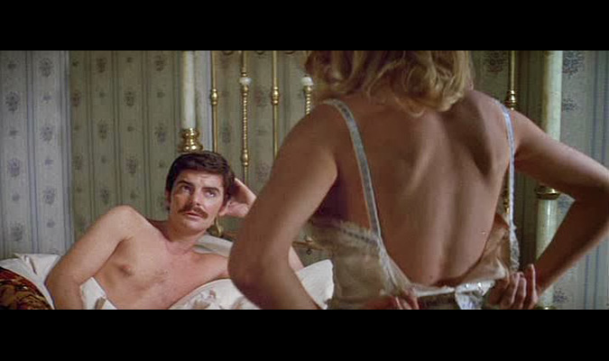 Peter Martin (Richard Benjamin) makes for an awkward seduction scene with a female robot in WESTWORLD.