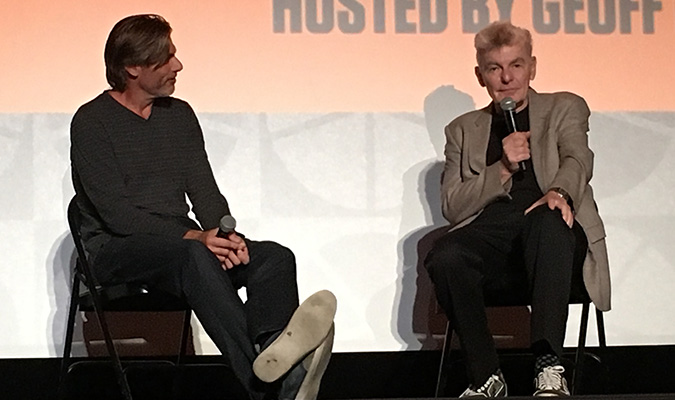 Geoff Boucher interviews actor Richard Benjamin after the November 2015 screening of WESTWORLD, on stage at The Theater at the Ace Hotel in Downtown Los Angeles.