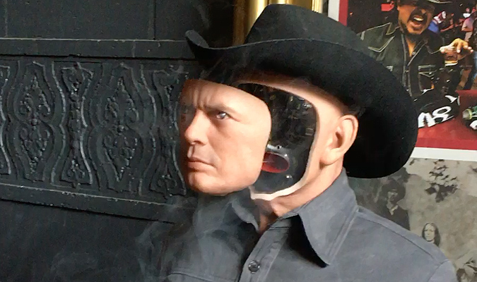 The face of the Gunslinger figure opens with smoke effects, as created by Nick Marra and on display at the Creature Features WESTWORLD screening in November 2015.