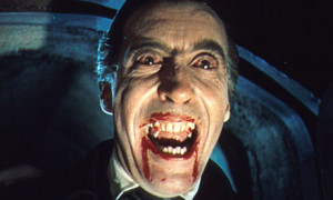 Christopher Lee retuns as the bloodthirsty count in Hammer Studios' DRACULA HAS RISEN FROM THE GRAVE (1968).