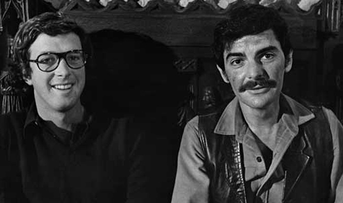 Writer/director Michael Crichton and Richard Benjamin on the set of WESTWORLD.