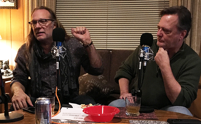 Greg Nicotero and Frank Dietz at the mics during our Damn Dirty Geeks podcast all about JAWS.