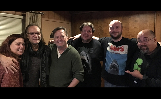 (L to R) Trish Geiger, Greg Nicotero, Frank Dietz, Scott Weitz, Jack Bennett and Frank Woodward survive our two-part podcast about JAWS.