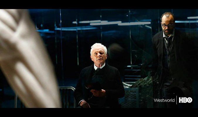 Anthony Hopkins and Jeffrey Wright in Westworld, coming to HBO in 2016.