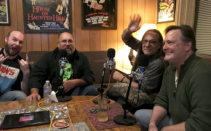 (L to R) Jack Bennett, Frank Woodward, Greg Nicotero and Frank Dietz in mid-podcast discussing JAWS.