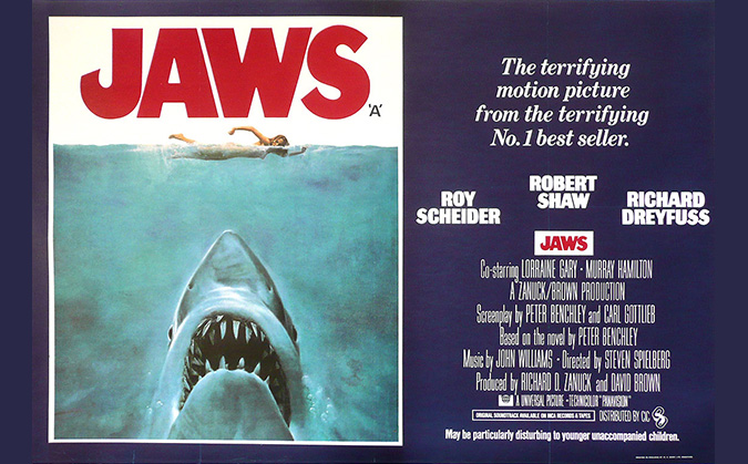 A British quad poster promoting JAWS