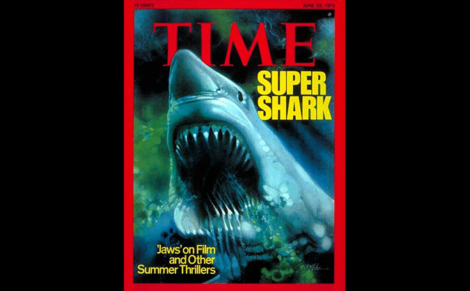 The historic Time magazing cover story Super Shark from June 1975, heralding the summer of the shark as JAWS devoured box office records.
