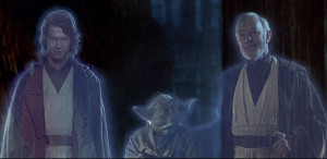 More STAR WARS Special Edition revisionism by George Lucas: the Force spirit of young Anakin Skywalker (Hayden Christensen) replaces the older Anakin (Sebastian Shaw) previously seen to materialize in his redemption at the end of RETURN OF THE JEDI as it was released in 1983. Photo: Film Frame. © Lucasfilm