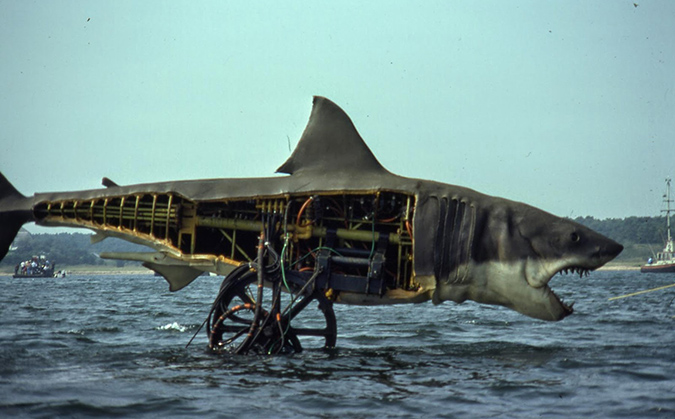 One of the mechanical sharks used in filming JAWS, this is version with the left side camera ready and the right side with exposed inner structure and hydraulics that brought the beast to life in scenes.