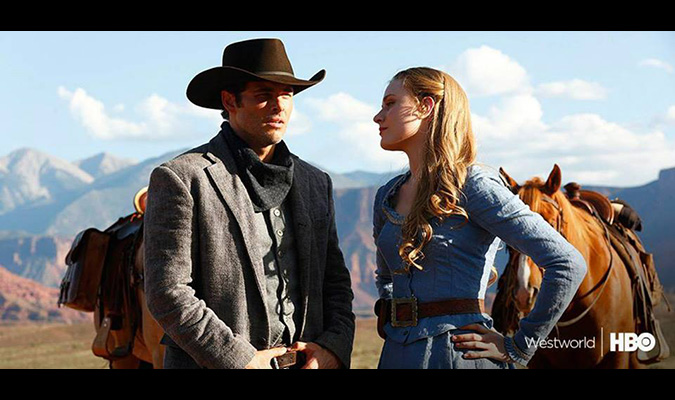 James Marsden and Evan Rachel Wood in Westworld, coming to HBO in 2016.