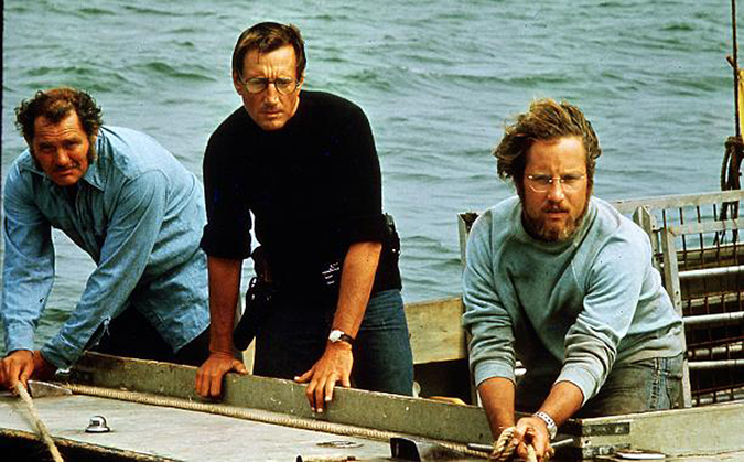 (L to R) Quint (Robert Shaw), Brody (Roy Scheider) and Hooper (Richard Dreyfuss) begin their climactic battle against the great white shark in JAWS.
