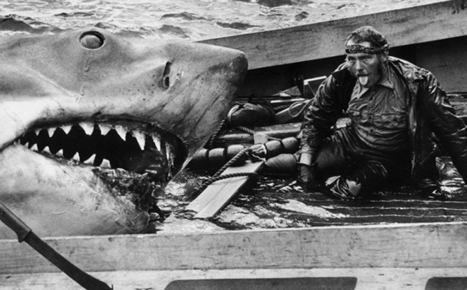 An exhausted Robert Shaw catches his breath after wrestling with Bruce the shark while filming the finale of JAWS.