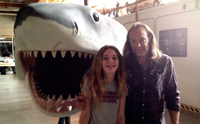 DDG Frank Dietz's daughter Tabitha visits Greg Nicotero and his recreation of Bruce the shark from JAWS at KNB EFX studio.