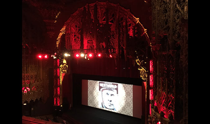 Luxurious interior of The Theater at the Ace Hotel in Downtown Los Angeles, which hosted the WESTWORLD screening and Q&A with actor Richard Benjamin.