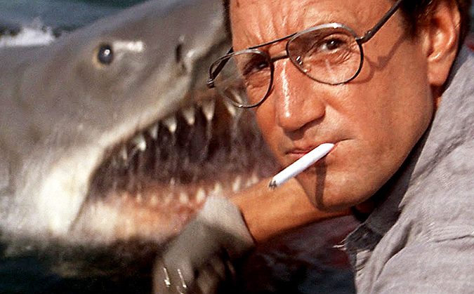 Chief Brody (Roy Schieder) chums some of that shit as the shark makes a shocking appearance in this scene from JAWS.