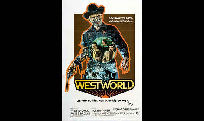 The memorable poster design promoting Michael Crichton's WESTWORLD.