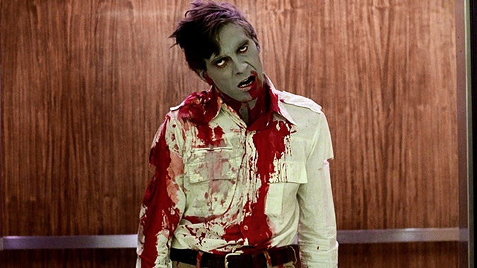 Stephen (David Emge) is having a bloody bad day at the mall in George Romero's DAWN OF THE DEAD from 1978.