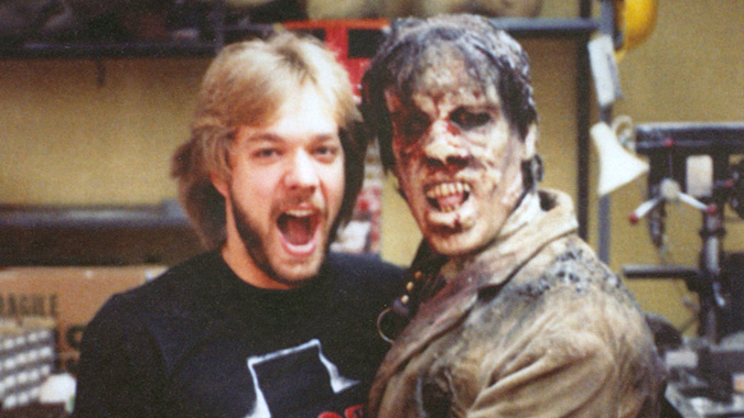 DDG podcast guest Greg Nicotero and zombiefied Howard Berger enjoy a lighter moment during production of DAY OF THE DEAD in 1985.