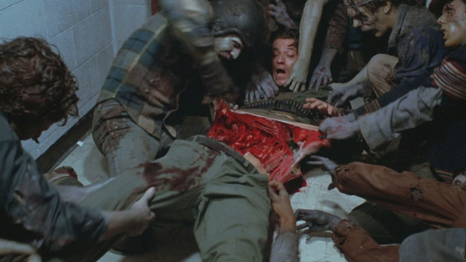 The gruesome zombie death of Rhodes (Joseph Pilato) in George Romero's DAY OF THE DEAD, in which our podcast guest Greg Nicotero served on Tom Savini's makeup crew in 1985.
