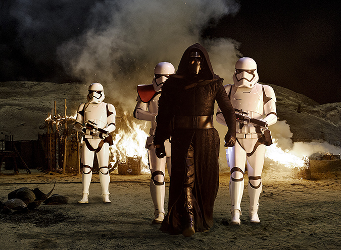 Star Wars: The Force Awakens. Kylo Ren (Adam Driver) with Stormtroopers. Ph: David James. ©Lucasfilm 2015
