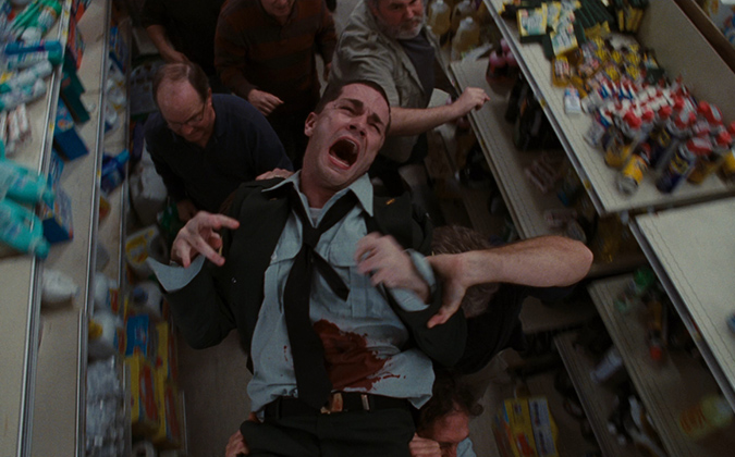 Sam Witwer as Private Jessup meets a gruesome fate in Frank Darabont's horror thriller THE MIST.