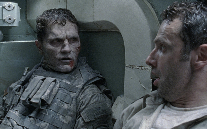 Sam Witwer and the undead tank soldier in the pilot episode of AMC's THE WALKING DEAD.