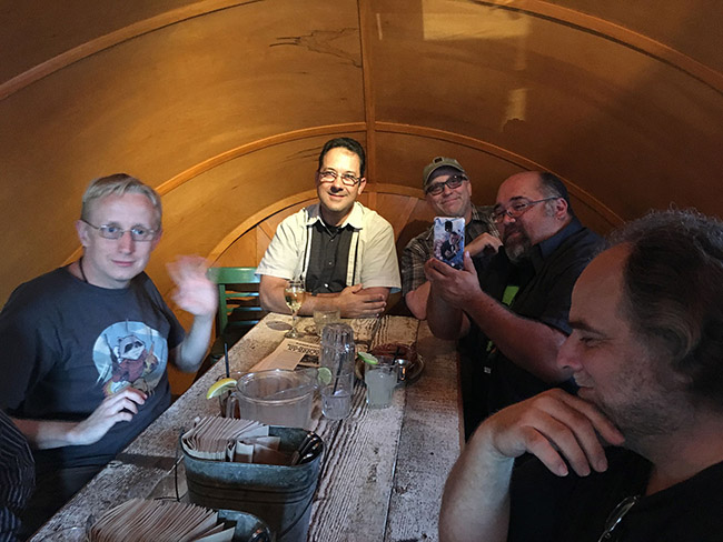 (L to R) David Moore, Perry Shields, Brice Cranston, Frank Woodward and Jeff Barkley inside the Bulldog at Idle Hour, celebrating the Damn Dirty Geeks' 2nd annual Planet of the Apes Day.