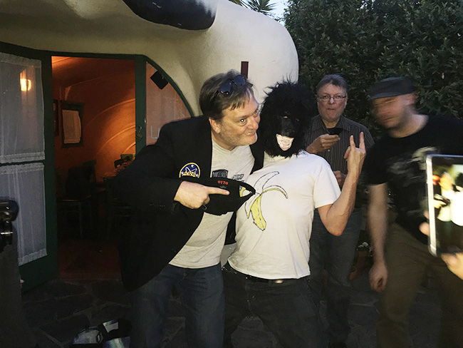 Frank Dietz goes bananas with a visiting gorilla at Idle Hour, celebrating the Damn Dirty Geeks' 2nd annual Planet of the Apes Day.