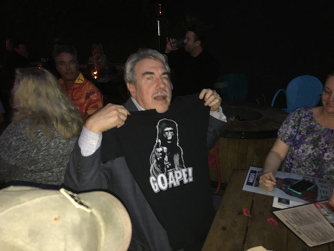 John Goodwin takes home a Go Ape t-shirt prize, celebrating the Damn Dirty Geeks' 2nd annual Planet of the Apes Day.