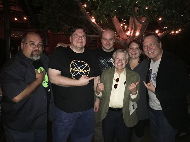 (L to R) Frank Woodward, Scott Weitz, Jack Bennett, Lou Wagner, Trish Geiger and Frank Dietz celebrating the Damn Dirty Geeks' 2nd annual Planet of the Apes Day. We were honored that Lou, who played Lucius in the original PLANET OF THE APES film, join our fan event.