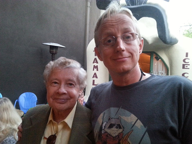 Actor Lou Wagner, who played Lucius in the original PLANET OF THE APES, and fan David Moore celebrate the Damn Dirty Geeks' 2nd annual Planet of the Apes Day. Photo credit: David Moore