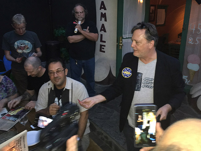 Frank Dietz handing out the DDG swag and gifts as we celebrate the Damn Dirty Geeks' 2nd annual Planet of the Apes Day.