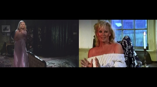 Veronica Carlson as Maria in Hammer's DRACULA HAS RISEN FROM THE GRAVE on the left, and the actress appearning in an interview from Ted Newsom's documentary FLESH AND BLOOD: THE HAMMER HERITAGE OF HORROR (1994).