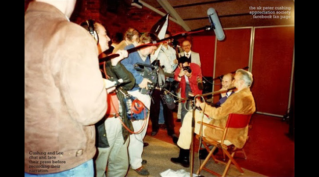Christopher Lee and Peter Cushing answer questions from the press during their reunion in production of Ted Newsom's documentary FLESH AND BLOOD: THE HAMMER HERITAGE OF HORROR.